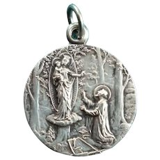 French silver religious medal : Virgin Mary child Jesus : signed Tschudin: Jubile 1926