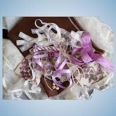 Collection antique & vintage French textiles ribbons buttons: violet chocolate ecru tones : doll's projects