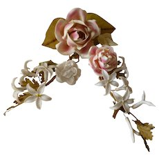 Delicious 19th C. French porcelain rose ,rosebud bouquet sprays : period boudoir display