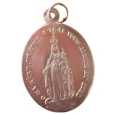 French silver medal : Virgin Mary : Infant Jesus : anchor : snake
