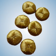 Set 6 French old gold colored silk buttons : Jumeau Bebe doll projects