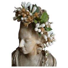 Delicious antique French bride's wax wedding orange blossom crown : tiara : boudoir period display