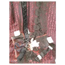 Collection old French lace , textiles & trims : black & pink tones : sewing projects