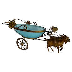 Whimsical 19th C. French goat carriage : butterfly : sewing trinket opaline dish