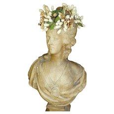 Delicious antique French bride's wax wedding crown : tiara : boudoir period display