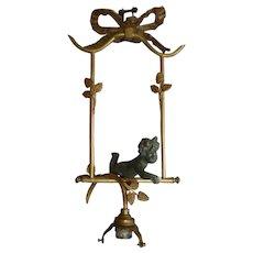 Charming antique French former boudoir ceiling light : cherub :  ribbon bow