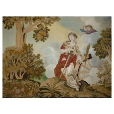 Exceptional French silkwork embroidery painting : classical scene cherubs : Georgian period