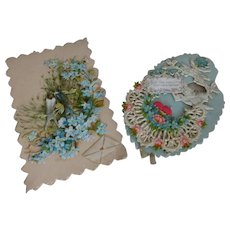 2 utterly charming old French die cut embossed cards : dove forget me not floral motifs