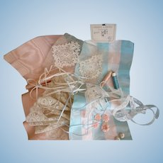 Collection French satin, lace, ribbons, flowers : turquoise peach ecru tones : doll projects