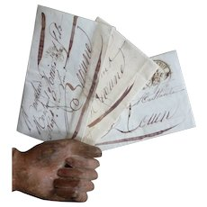 3 tactile old French correspondence letters : scrolled hand writing : 1828 - 1832 : ephemera
