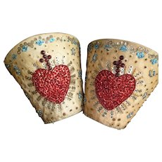 Pair bejewelled 19th C. French church textile decoration pieces : heart and cross motifs