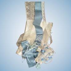 Collection old French satin ribbons lace silks : blue & cream tones : Jumeau Bebe doll projects