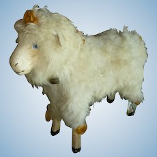 Charming antique sheep : real fleece : original silk bows rosettes bell : bleating mechanism