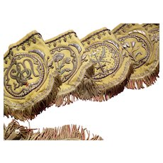 Sumptuous 19th C. French cloth of gold antependium : silverwork embroidery : floral motifs