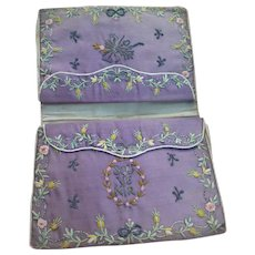 Exquisite antique French embroidered pocket book : wallet : ribbon work : roses : Georgian era