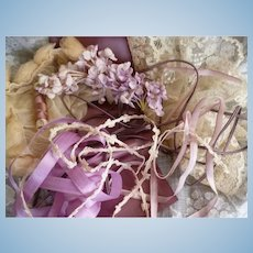 Collection French lace roses ombre ribbon silk thread : lilac mauve tones : Jumeau Bebe
