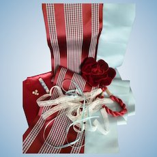Collection old French textiles lace ribbons : cherry red & blue tones : Jumeau Bebe doll projects
