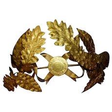 Opulent full size old French gilt metal laurel oak leaf wreath crown : bow : period display