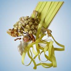 5 yards French narrow acid green silk ribbon : unused on original card : Bebe Jumeau projects