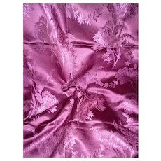 Sumptuous 19th C. French plum / Purple silk fabric : floral bouquets : projects