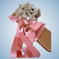 7 yards delicious French old pink silk velvet ribbon : unused shop card : Jumeau Bebe doll projects