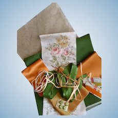 Collection French taffeta, silk ombre  ribbons : buttons : tangerine orange green tones : doll projects