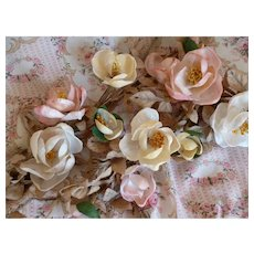Faded grandeur 19th C. French rose bouquet sprays : unusual shell petals : period display