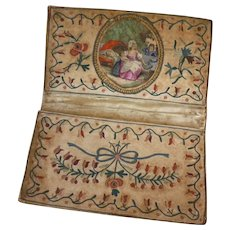 Rare 18th C. French pocketbook : wallet : hand painted vignettes : hand embroidery : Georgian era