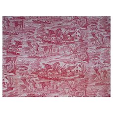 Charming early 19th C Normandy toile fabric panel : fox hunting scenes : signed : Georgian era