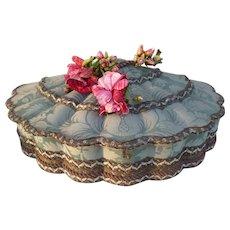 Charming French scallop shaped damask fabric covered boudoir box : circa 1920's : metallic trim
