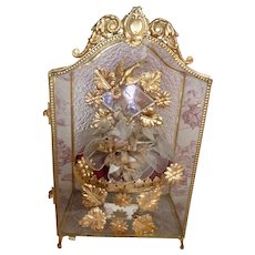 Decorative antique French  wedding display vitrine : cabinet : bridal crown : FREE SHIPPING