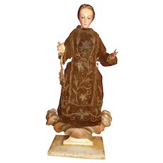Serene 19th C. Madonna : virgin Mary hand carved wood & polychrome statue : original clothing :glass eyes