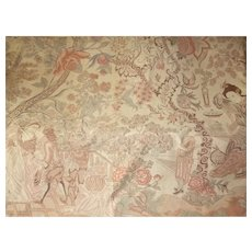 Decorative old Palampore type wall hanging : tree of life :  Indienne motifs stylized animals