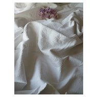Superb antique French white cotton marriage bed cover : monogram : flat pique de Marseille