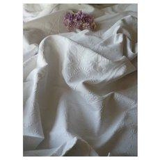 Superb antique French white cotton marriage bed cover : monogram : flat pique de Marseille