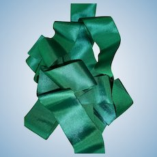 3 yards old French iridescent silk ribbon : jade green / petrol blue : antique doll's clothing projects