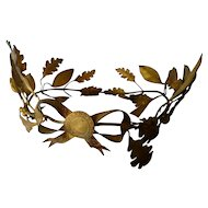 Opulent full size French gilt metal wreath crown : laurel oak leaves : ribbon bow : period display