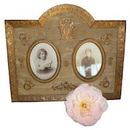 Faded grandeur antique French bronze dore silk moire Empire style photo frame : circa 1880