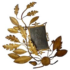 Decorative antique French gilt metal wreath award trophy : oak & laurel leaves : musical motifs