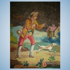 Charming antique French Aubusson small hand painted tapestry project : bird seller with dog