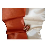 2 antique French shimmering taffeta & satin ribbons : antique doll costume projects