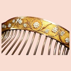 Exquisite French silver gilt ladies tiara comb : 1st Empire  / Georgian period : pearls