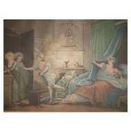 Amusing Antique French engraving : Ma chemise brule : dated 1789  : Fragonard : Augustin Le Grand
