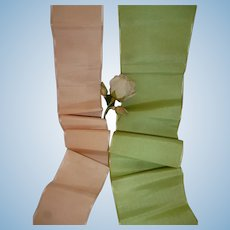 2 old French silk ribbons : pea green & pale peach : Jumeau Bebe doll costume projects