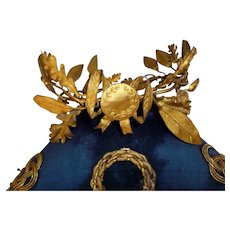 Decorative antique French gilt metal wreath crown : laurel & oak leaves : ribbon bow