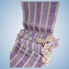 Unusual old French translucent mauve black ivory silk striped ribbon : antique doll projects