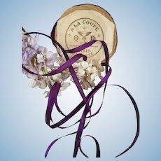2 Yards unused antique purple narrow silk ribbon : fashion doll costume projects