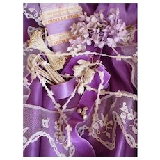 Collection old French silk fabric, ribbons , lace , flowers : violet tones  : Fashion doll costume projects