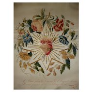 Exquisite 19th C. French ex voto silk embroidery : pieced flaming heart : floral & star motifs
