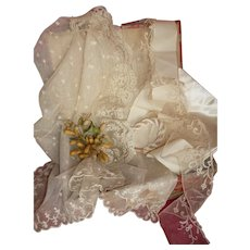 Boxed collection silk fabric , ribbon , thread, wax bouquet , lace : doll wedding costume projects